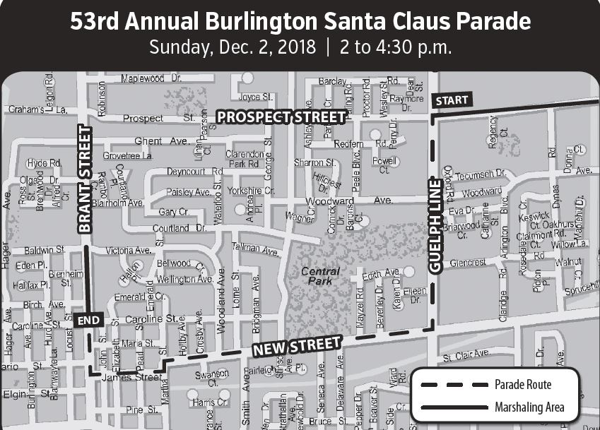 Santa Claus Parade Closure Map