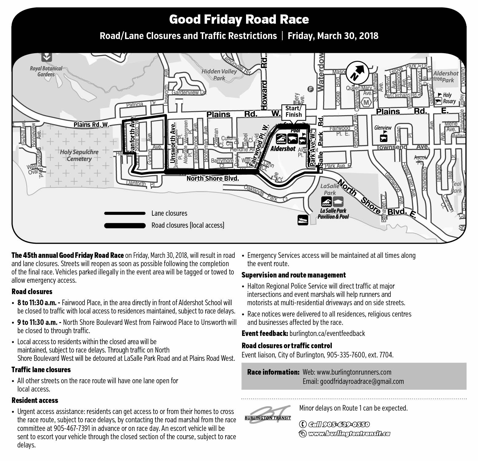 Map and details of Good Friday Road Race