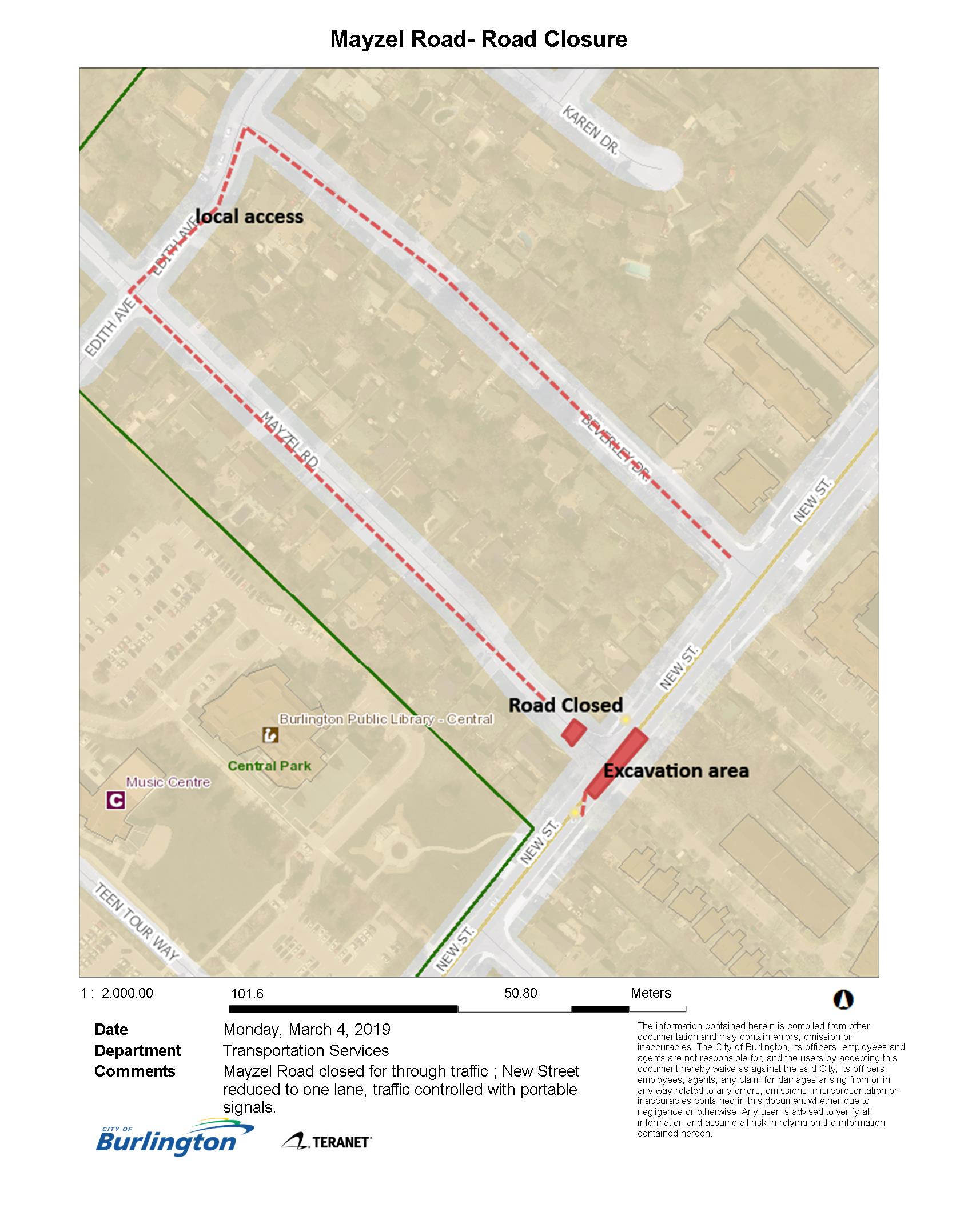 Map - local access on Mayzel Road
