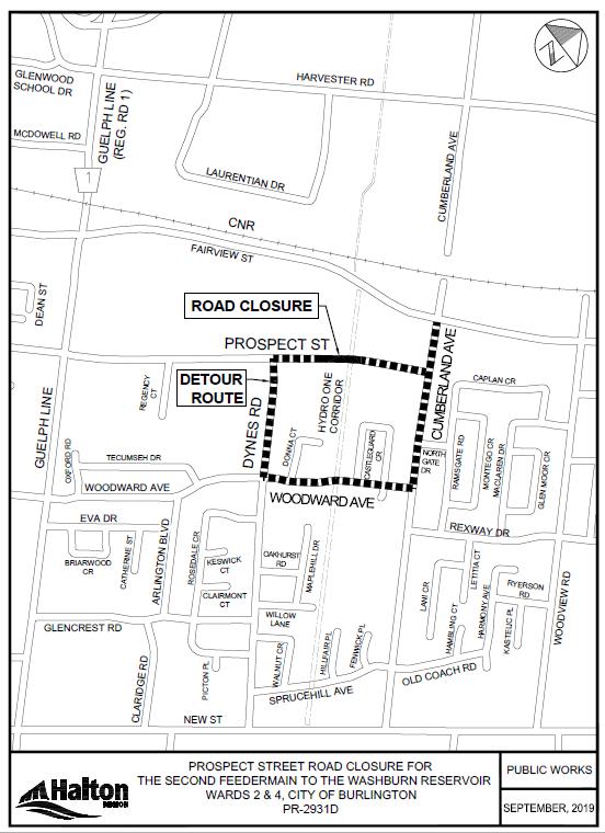 Detour map - Prospect Street road closure