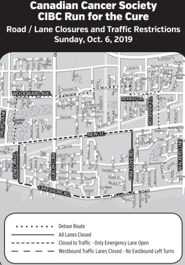 Run for the Cure Closure Map