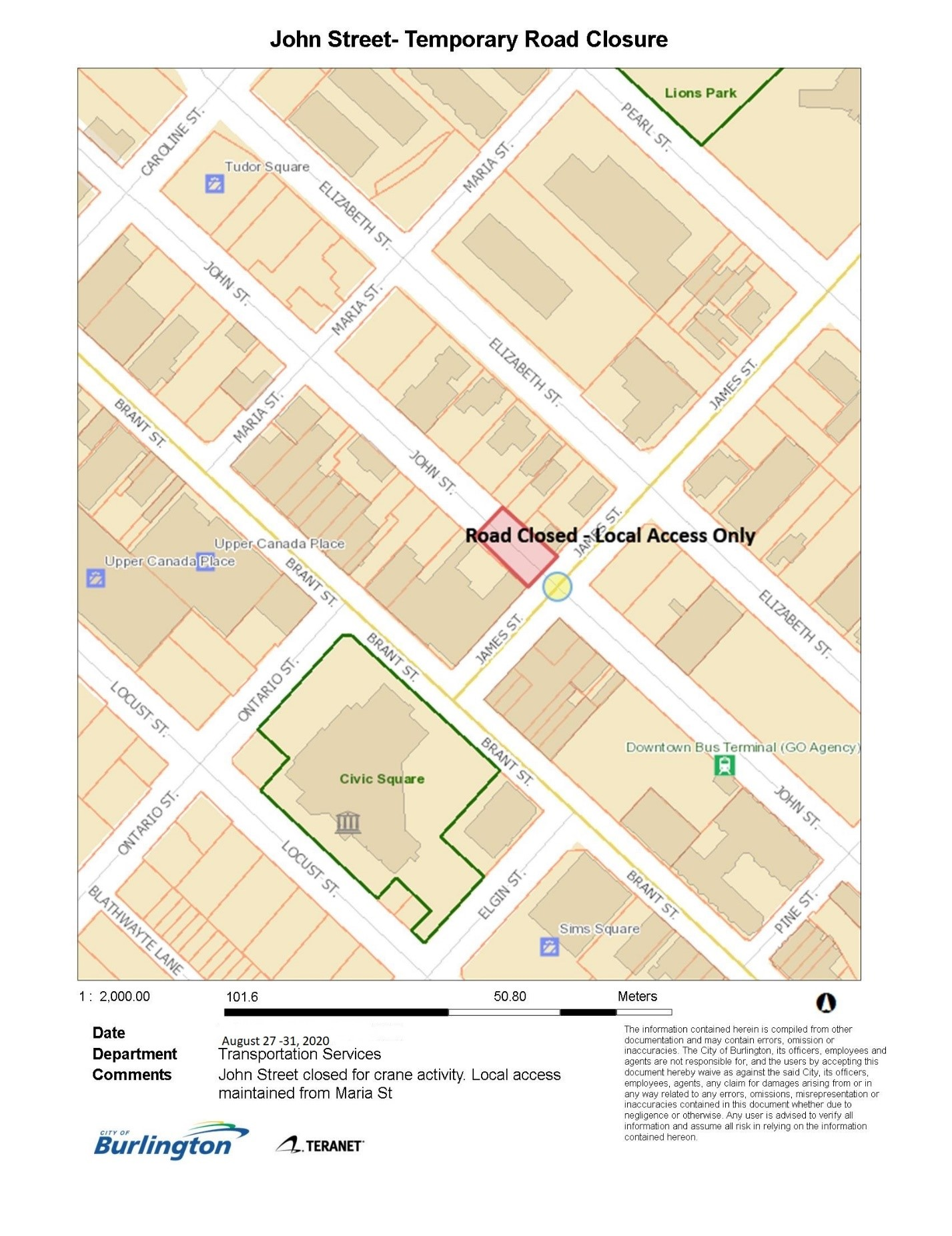 John Street - Road Closure- Aug 27-31,2020